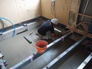 土間コンクリート作業